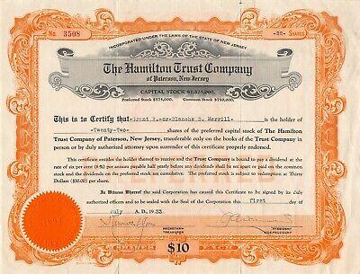 The Hamilton Trust Company Paterson New Jersey Capitol Stock Certificate 1930/'s