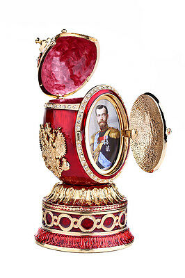 Faberge Egg Music Box Church of Savior on Blood Russian Coat of Arms 5.5'' red