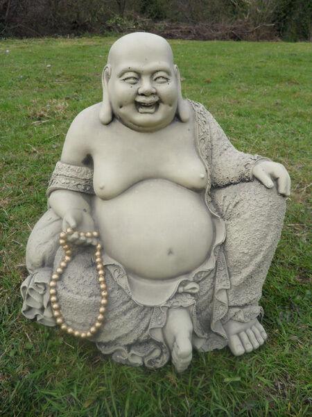 LARGE JOLLY STONE BUDDHA GARDEN ORNAMENT  STATUE KOI