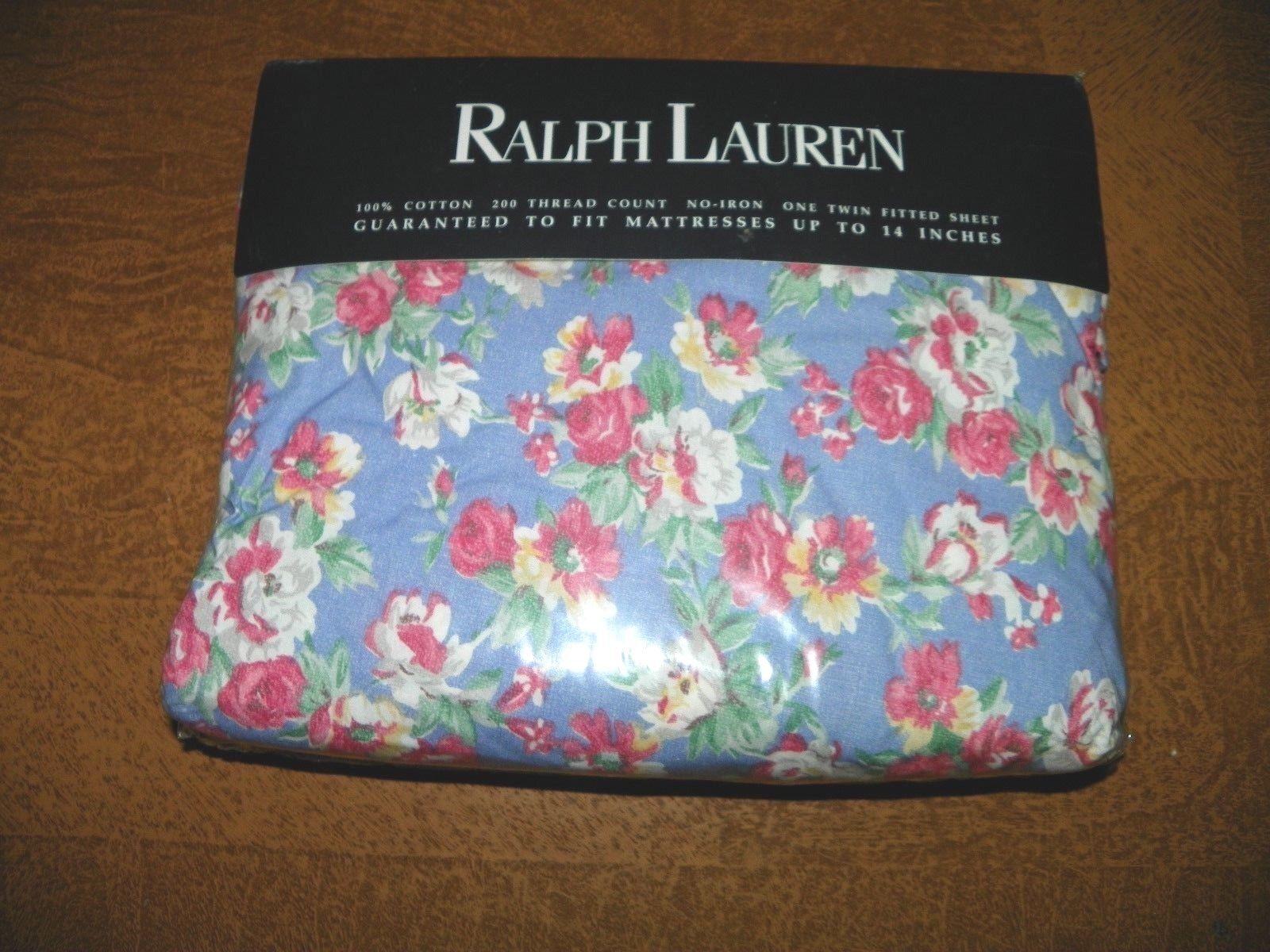 RALPH LAUREN  Hope Floral 100% Coton Double Drap Housse-nouveau in Pkg-poches profondes