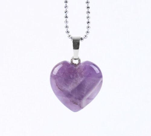 A495E Herz aus Amethyst lila Anhänger mit Kette versilbert
