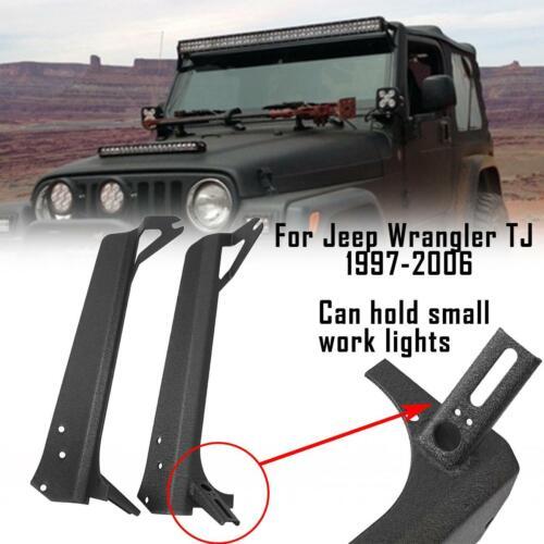 "Pair 52/"" LED Light Bar Windshield Mount Brackets for 1997-2006 Jeep Wrangler TJ"