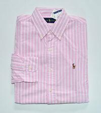 NWT Men's Ralph Lauren Casual Long-Sleeve Oxford Shirt, Pink, White, M, Medium