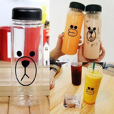 Cute Portable 500ML Clear My Bottle Sport Travel Plastic Fruit Juice Water Cup