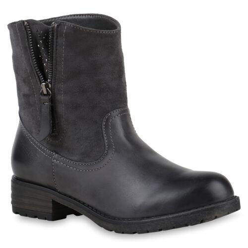 894007 Schuhe Damen Biker Boots Strass Stiefeletten Schnallen Trendy