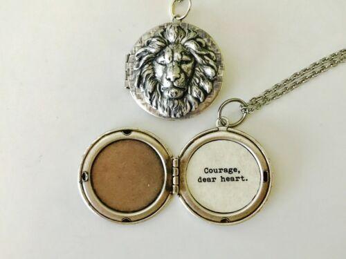 Courage C.S Lewis quote locket. dear heart Aslan Necklace Aslan Locket