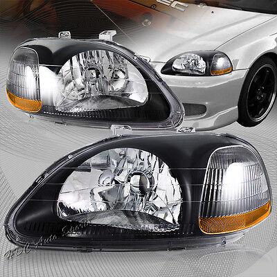 For 1996-1998 Honda Civic Black Housing Clear Lens W/ Amber Reflector Headlight