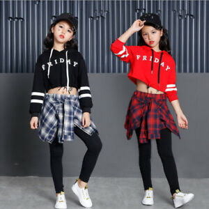 b4afcad7c Girls Children Jazz Hip Hop Modern Dancewear Kids Dance Costumes Top ...