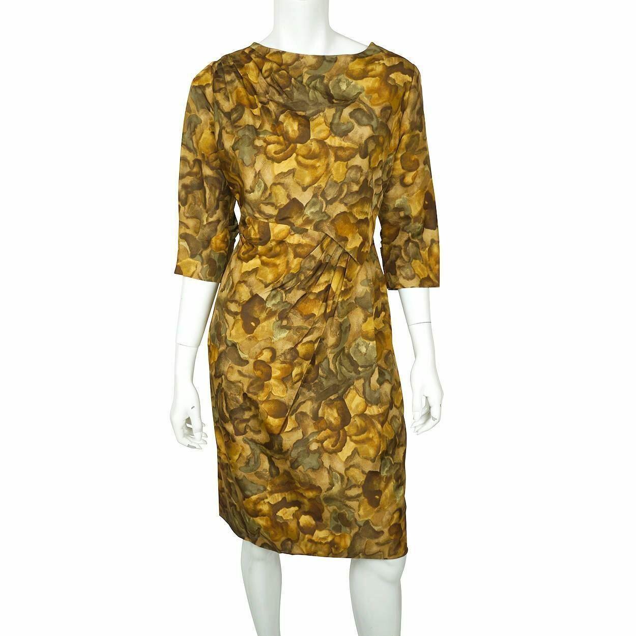 Vintage Ceil Chapman Wiggle Dress Abstract Leaf P… - image 1