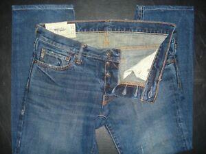 Para Hombre Abercrombie Fitch Ajustado Recto Jeans Talla 32 X 32 Cierre De Botones Ebay