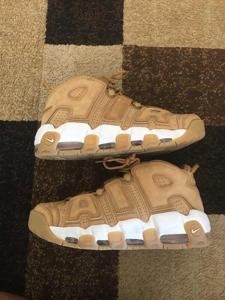 Nike Air More Uptempo Flax Wheat PRM Mens sz 9 Basketball Shoes Tan White