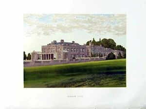 Old-Antique-Print-1880-Gunton-Park-House-Aylsham-Norfolk-Lord-Suffield-0-19th
