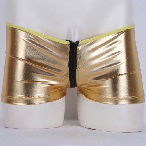 Mens Shiny Leather Zipper Boxer Briefs Wetlook Trunk Shorts Underwear Underpants