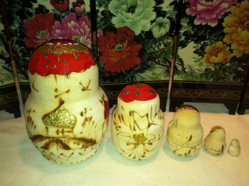 russian nesting doll Set Of 5 Hand made 4 inchs tall Wood Red US Seller