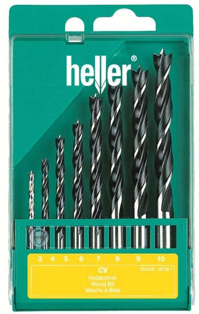 Heller 8 piece CV Brad Point Wood Drill Bit Set 3mm - 10mm Quality German Tools