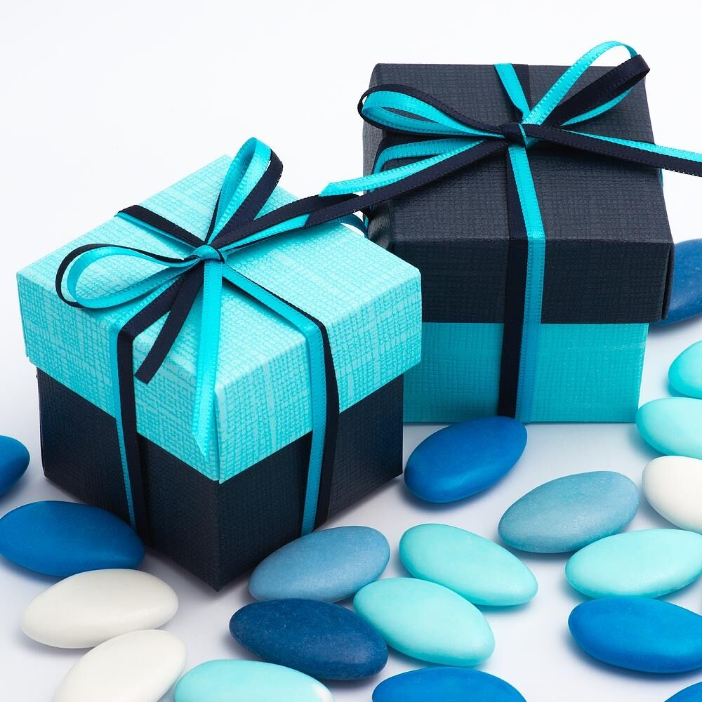 Celeste Blau & Navy Silk Two Tone Square Box & Lid Wedding Favour Party Boxes