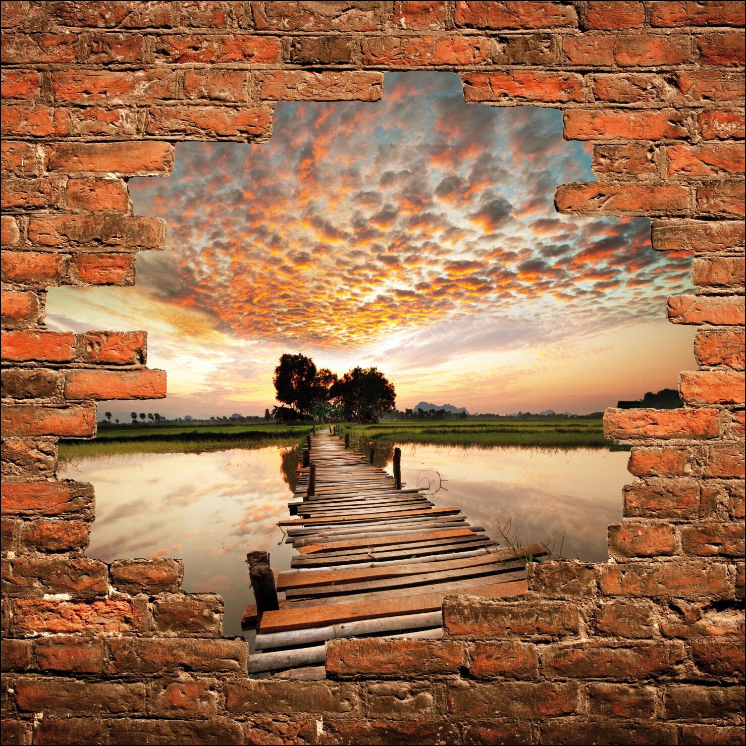 Sticker mural trompe l'oeil mur mur l'oeil de pierre pont sur l'eau réf 856 379034