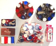 LOT Of 2000 + Colored PLASTIC INTERLOCKING Poker Chips & 2 ROUND Chip RACK