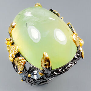 Vintage35ct-Natural-Prehnite-925-Sterling-Silver-Ring-Size-8-R120481