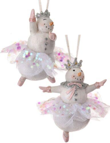 Set of 2 Sweet Dreams Whimsical Dancing Snowmen Christmas Ornaments by Regency