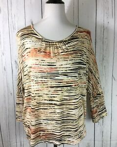 Chicos-Dolman-Blouse-XL-Chico-s-Size-3-Soft-Rayon-Pullover-Scoop-Neck-Neutrals