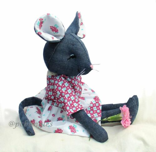 recycle your denims Raggedy Mouse soft toy sewing pattern