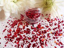 Nail Art Chunky *Valentines* Ruby Red Hexagon Hearts Shape Glitter Spangle Pot