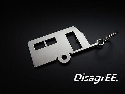 "Keyfob Keychain /""VR6 Cylinder Head Gasket/"" stainless steel brushed"
