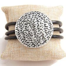 Black Multi Cord Antique Silver Hammered Magnetic Bracelet  Lagenlook Jewellery