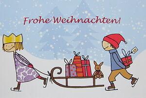 Weihnachten Kinder.Details Zu Postkarte Weihnachten Kinder Grußkarte Prinzessin Junge Schlitten Geschenk Krone