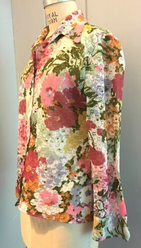 Vintage 1970's Floral Shirt with Unusual Eyelet Fa