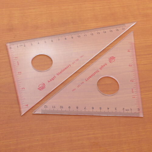 2pcs Clear Acrylic 30/60/45/90 Degree Geometry Triangle Ruler for Drawing