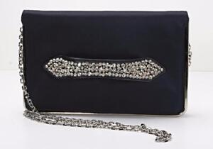 47dd3304e378 Details about LORIS AZZARO Navy Blue Satin Crystal Embellished Handle Silver  Clutch Bag Purse