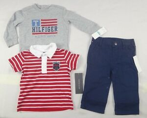 Tommy-Hilfiger-Baby-Boys-039-Long-Sleeve-Polo-and-Pant-Set-sizes-3-6-6-9-mo