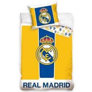 Real-Madrid-Cf-Jaune-Bleu-Set-Housse-de-Couette-Simple-100-Coton-Literie