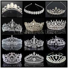 US Bridal Wedding Prom Crystal Flower Tiara Crown Pearl Rhinestone Hair Headband