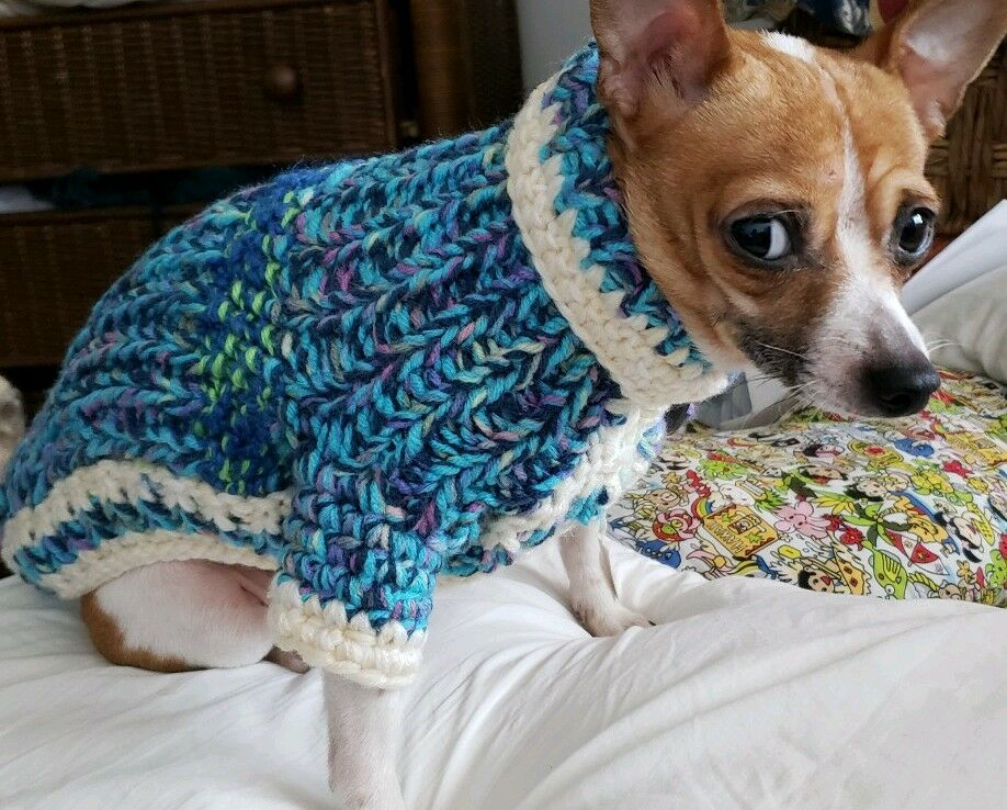 LUXURY DOG HAND-KNITTED COAT   BRIGHT SKY blu THICK- SMALL