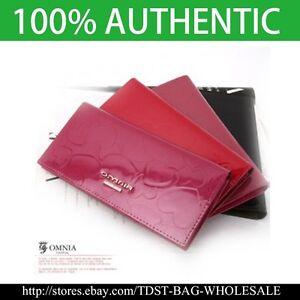 OMNIA Crystal Ladies Slim Checkbook Genuine Leather Purse Long Bifol Wallet 356