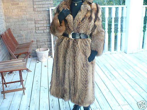 Unique Full Length Finnish Raccoon Fur bolero Coat M