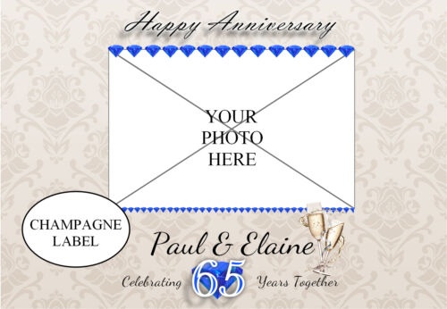 Personalised Sapphire 65th Wedding Anniversary Wine Champagne Bottle Label N93