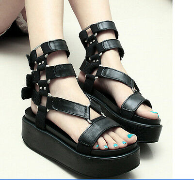 Womens Platform Creeper Buckle Roma Leopard Punk Riding New Summer Sandals Shoes