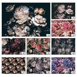 Vliestapete-Fototapete-Tapete-Vlies-Bunte-Blumen-Pfingstrosen-Rosen-Natur-FW009