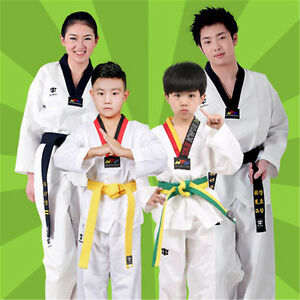 ITF WTF Taekwondo TKD Martial Art Suit Uniform Dobok Costume Set for Kids&Adults