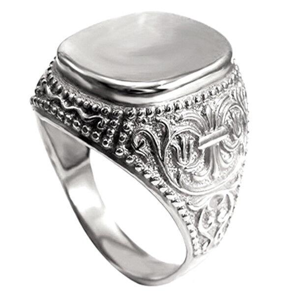Men's 14k White gold Signet Engravable Ring  size 7 to 14  R1977