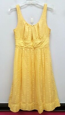 Vince Size 8 Yellow Polka Dot Empire Waist Cotton Silk Sundress