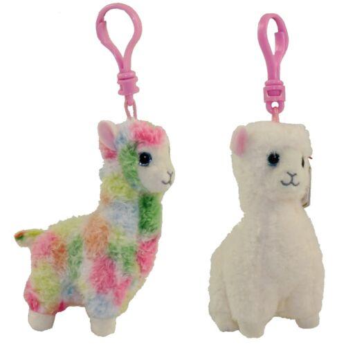 SET of 2 LLAMAS Plastic Key Clip TY Beanie Babies Lola /& Lily 4 inch