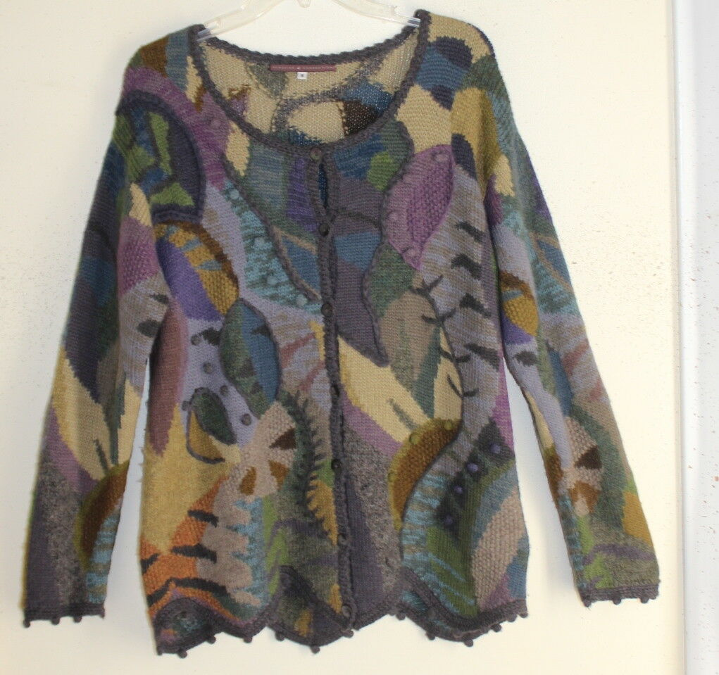 Peruvian Connection M Incredible Fantasy Floral Alpaca Funky Art-to-Wear Art-to-Wear Art-to-Wear Sweater fe0b63