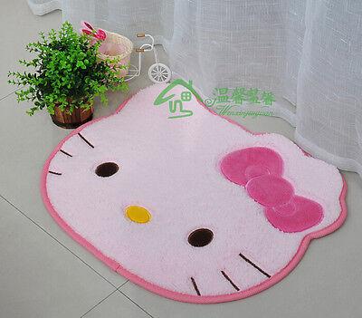 Cute Hello Kitty Pink Bow Floor Mat Rug Plush Door Mat Light Pink