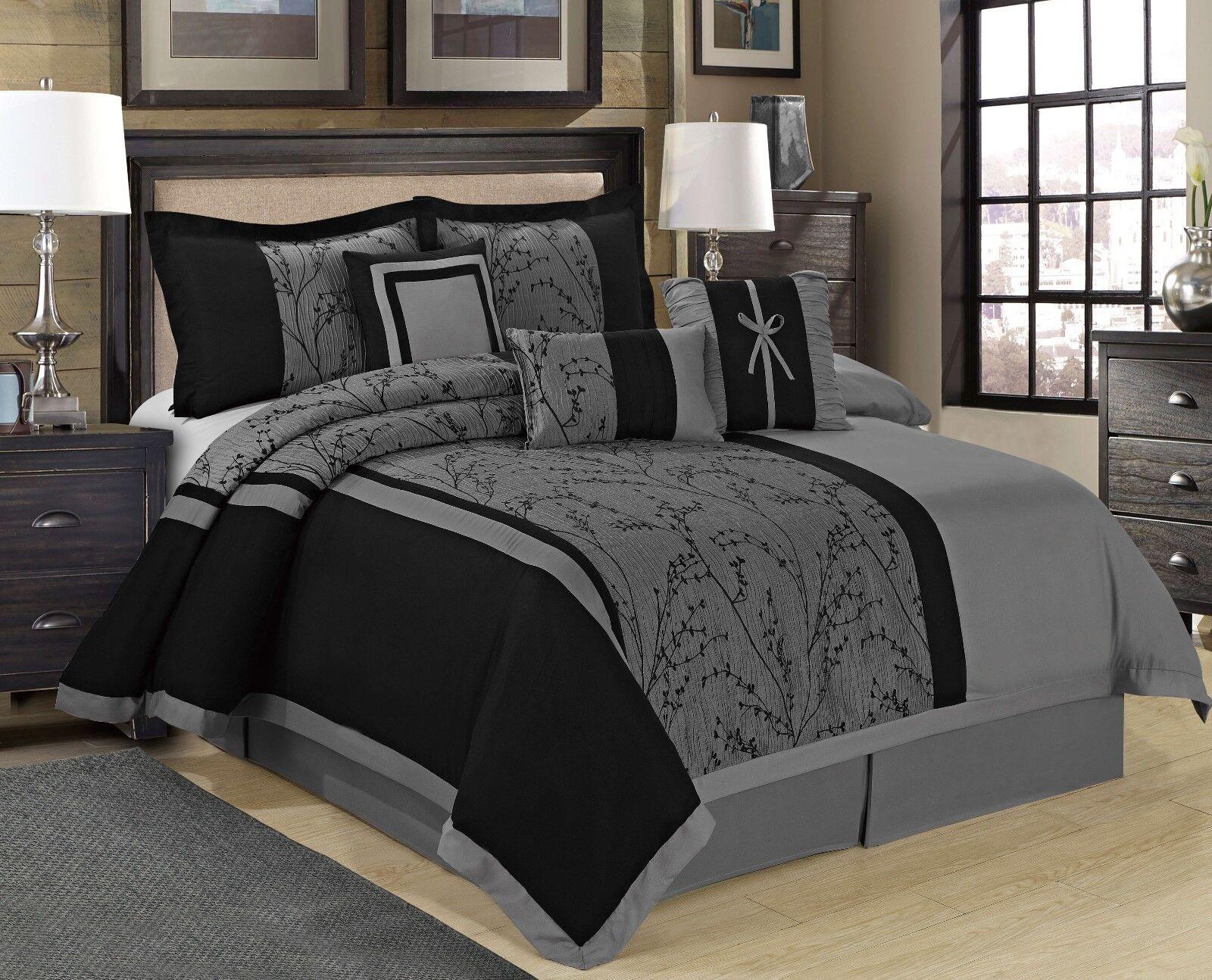MH 7pc Jacquard tree branches design comforter set