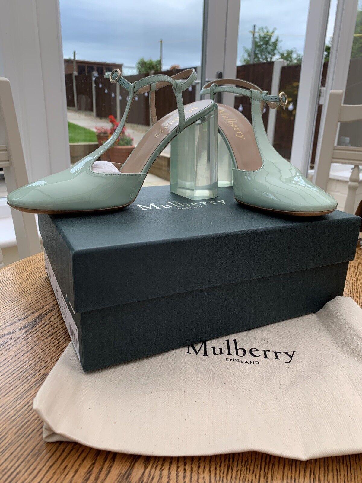 Mulberry Mary T Bar Light Jade Summer Heels Shoes RRP (EU40) UK6.5